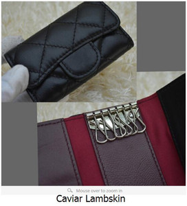 31503 Women Black Lambskin Caviar Leather key Holder Small Purse For Key Wallets Card & ID Holders Key Wallets on Sale