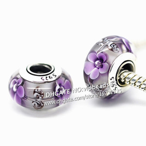 S925 Sterling Silver jewelry purple Flowers Murano Glass Beads Fit European DIY pandora Charm Bracelets & Necklace 211