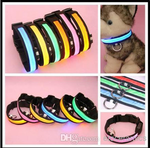 Wholesale Glow LED Cat Dog Pet Flashing Light Up Safety Collar Luminous LED Dog Collar colors size S M L