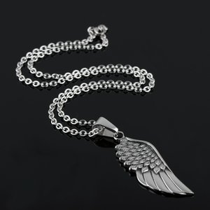 Wholesale ZHF JEWELRY Silver black vintage Stainless Steel Angel wings personality Pendant Necklace Chain for Men Gifts