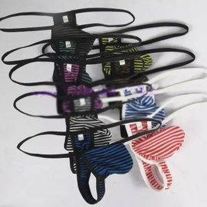 Wholesale-Mens sexy thong pouch low-waist narrow band soft polyester cotton small stripe on Sale