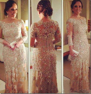 2015 Vestidos de Fiesta Gala Pageant Gowns Sheer Crew Neck Long Sleeve Beaded Lace Champagne Plus Size Mother Evening Dresses Personalized on Sale