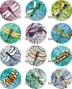 Wholesale dragonfly glass Snap button Jewelry Charm Popper for Snap Jewelry good quality Gl347 jewelry making DIY
