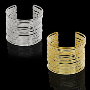 Wholesale Fashion Gold Silver Plating Bracelets Punky Style Hollow Cuff Retro Braid Big Gold Bangles For Women Charm Vintage Multilayer Wide Bracelet