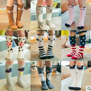 Baby Girl Boy kids cartoon knee high socks Cute Cartoon Socks cat fox american flag socks Leg Warmers Kids Kawaii Socks Free Shipping