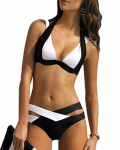 Wholesale Sexy Bikini Splicing Bikinis For Women Bandage Fashion Swimsuit Hollow Out A Suit Black And White Bikini Brazilian Strappy Bikini