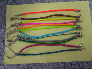 Wholesale Fashion Unisex Simple PU Leather Braided Cord Bracelet With Lobster Clasp Length cm CM Extend Chain Thickness mm Variety Colors