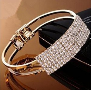 Wholesale Women Luxury Charms Crystal Bracelet Fashion Luxurious super flash elegant all over the sky star wristband gold bangle bracelets
