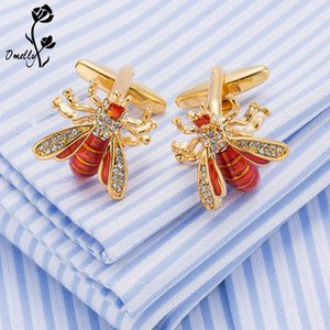 Wholesale Luxury Man Cuff Links Shirt Suit Crystal Bee Animal Gold Filled Cufflinks Best Man Gift Wholesale in Bulk Free Shipping