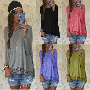 Wholesale Casual Women Tops Blouses Shirt With Lace Hem O Neck Long Sleeve Loose Blouse Women Clothes Spring Autumn Winter S XL WY7042