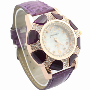 Lady Watch Bohemian Style Big Dial Analog Crystal Watch Fashion Leather Band Dress Watch for Woman