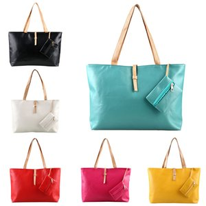 Wholesale Women Solid Shoulder Multicolor Handbag Casual Tote Bags Black Red Yellow Orange Green Rose Red Beige