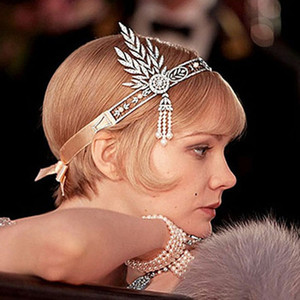 Wholesale-The Great Gatsby Hair Accessories Crystals Pearl Tassels Hair Headband Hair Jewelry Wedding Bridal Hairband Tiaras and crowns