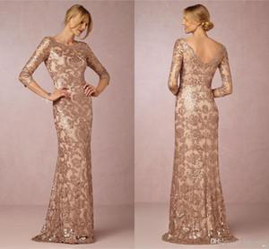 7d3ef9933f3 Wholesale Long Sleeves Rose Gold Mother of the Bride Groom Dresses Bateau  Neck Plus Size Vintage
