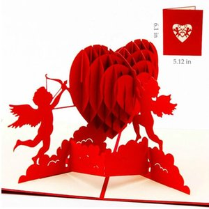 3D Pop Up Birthday Greeting Postcards Gift Cards Custom Laser Cut Heart Blank Vintage Invitation Mariage Love Letters Messages