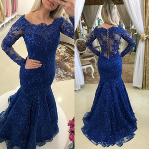 2017 Arabic Royal Blue Prom Dresses Scoop Neck Long Sleeves Beaded Full Lace Mermaid Sweep Train Plus Size Formal Evening Party Pageant Gown on Sale