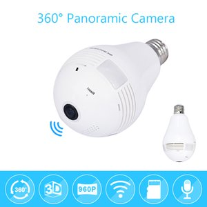 Wholesale Bulb Light Wireless IP Camera Wi fi FishEye P degree Full View Mini CCTV Camera MP Home Security WiFi Camera Panoramic