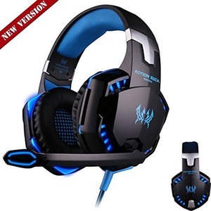 Gaming Headphones Stereo Noise Cancelling Headsets Studio Headband Microphone Earphones With Light For Computer PC Gamer EACH G2000 Blue Red