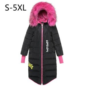 Wholesale Women Down Jacket Hot Pink Fur Winter Coat White Duck Down Parkas Hood Thicking Warm Outwear Tops Real Raccoon Fur Plus Size xl xl