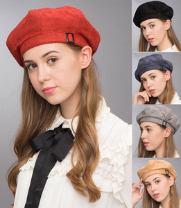 Wholesale Stand Focus Suede Beret French Beanie Painter Hat Cap Women Female Artist Fashion Great Shape Cotton Newsboy Red Black Navy Camel Buckle
