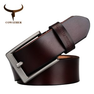 Wholesale COWATHER men s dress cow genuine leather classic pin buckle strap solid fashion smooth adjustable black brown coffee gift wrap