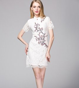 aa733a2fdf41 Women s temperament of new Chinese wind plum flower embroidery lace collar  qipao dress