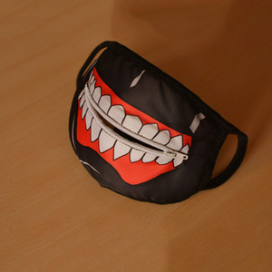 Wholesale-Hot Sale Tokyo Ghoul Mouth Mask Cotton White Teeth Style with Zipper Eat Mask Black Dust Ear Loop Face Mask Anime Theme Costume