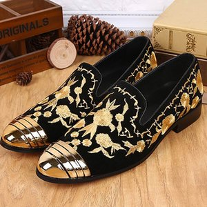 Wholesale Spring New Mens Black Genuine Leather Shoes Yellow Embroidery Slip On Loafer Shoes British Style Leisure Nubuck Shoes