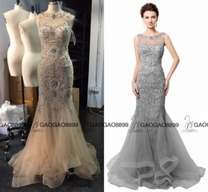 Wholesale Open Back Gray Champagne Mermaid Evening Dresses Beading Real Photo sparkly Sheer Neck Women Prom Gowns Long robe de soiree LX006