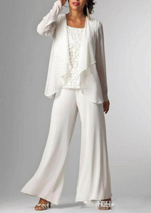 Wholesale White Chiffon Lady Mother Pants Suits with Jacket Mother of The Bride Dresses Pieces Formal Mother Evening Dresses Hot Sale