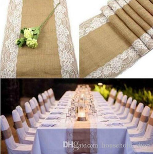 Wholesale Vintage Burlap Lace Table Runner Jute Tablecloth Wedding Decor Table Cover for Party Home Decor Table Decoration
