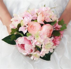Wholesale 2016 New Artificial Peony Silk Flowers Hydrangea Wedding Bridal Décor Bride Holds Charm Wedding Bouquet Peony Bouquet Wedding Decorations
