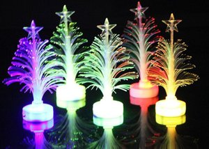 Wholesale Christmas Decorations Acrylic Optical Fiber Mini Multi Flashing Christmas Tree LED flash bar party celebration props gifts