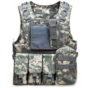 ingrosso maglia tattica-Tactical Vest Mens Tactical Caccia Gilet Outdoor Field Airsoft Molle Combattimento Assault Plate Carrier CS Attrezzature Outdoor Jungle