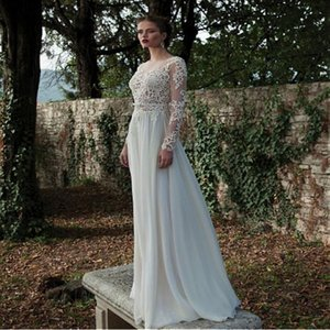 Elegant Tulle & Chiffon Plus Size Wedding Dresses Natural Waistline Wedding Dress With Beaded Lace Appliques Long Sleeve Dresses dhWED90006 on Sale