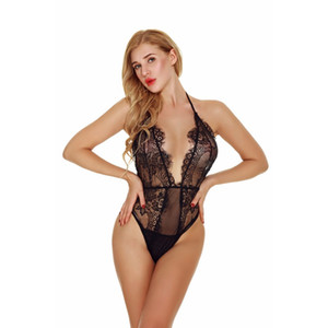 lingerie sexy high-end venda por atacado-Pestana Lacy Salão Glamour Romper Mulheres Romatic High End Sheer Sexy Scalloped Intimate Apparel Sheer Lingerie Lacy Pijamas cores