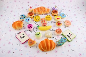 Wholesale DHL Squishy toy Random Medium Mini size cm Slow Rising Kawaii Squishy Cake Panda Bread Buns for cell Phone Straps