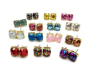 Wholesale Fashion Glitter Druzy Drusy Square Dot Earring Colors Gold Plated Small Cute Shinny Rainbow Opal Ear Stud for Women Girls Jewelry