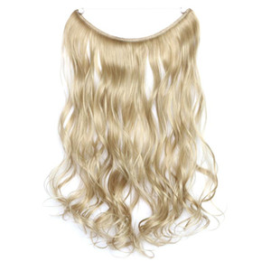 пепельные светлые волосы оптовых-Ms Fashion Curly wavy Hide Wire Flip in Hair Extensions Synthetic Women s Hair g inch Ash Blonde Mixed With Bleach Blonde