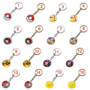 Wholesale anime Pocket Monster demon keychain cabochon Time gem key ring keyring pendants men women bags hang jewelry Bronze silver