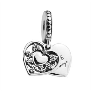 Mothers Day Gift My Wife Always Dangle Charms Authentic 925 Sterling-Silver-Jewelry Heart Pendant Beads For DIY Winsome Bracelets