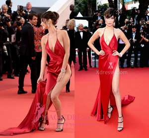 Wholesale Bella Hadid Sexy High Split Plunging Celebrity Evening Dresses V-Neck Haltered Red Prom Dress Cannes Backless Prom Formal Gowns