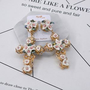 Wholesale statement earrings resale online - New Design Baroque Ceramic Cross Stud earrings for women Fashion Punk jewelry Crystal Flower statement earrings Brincos Bijoux
