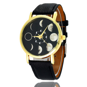 Wholesale Wristwatches Moon Lunar eclipse Fashion Dress Watches Men s Women s Leather Quartz Watch Personality Casual Vintage Watch Relogio W0380