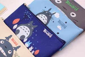 Wholesale Pencil cm Totoro Pencil Case Panda School Boys Kawaii Pen Box Bag Pouch Canvas Cartoon Cute Cases Bags Leather or Pens Stationery