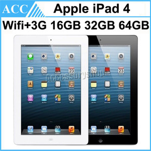 Refurbished Original Apple iPad 4 WIFI + 3G Cellular 16GB 32GB 64GB 9.7 inch Retina Display IOS Dual Core A6X Chipset Tablet PC DHL 1pcs