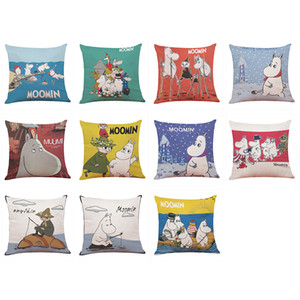 Wholesale Cartoon Pattern Cushion Cover Cute Moomin Printed Linen Pillowcases Home Office Sofa Square Pillow Case Decorative Cushion Covers x18inch