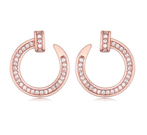 Wholesale Earrings Studs Fashion Women Brief High Quality Zircon K Gold Plated Alloy Circle Nail Stud Earrings Jewelry TER007