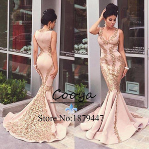 Wholesale Fast Shipping Long Mermaid Evening Dresses Luxury Gold Appliques Sexy V neck Floor Length Plus Size Evening Gown