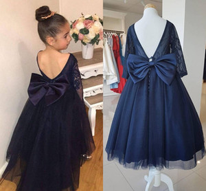 Wholesale Navy Blue Long Sleeves Flower Girls Dresses Boat Neck Lace Tulle Floor Length Backless Girls Pageant Dresses Children Party Dresses
